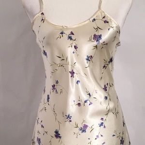 Nightie chemise Slip Cream w purple flowers size S